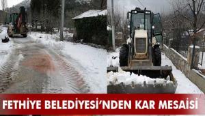 Fethiye Belediyesi kar küreme ve tuzlama çalışmalarına ara vermeden devam ediyor