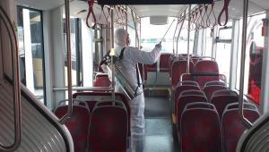 Manisa'da Elektrikli Otobüsler Dezenfekte Edildi