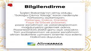 Pazartesi günü Patlangıç, Çalıca, Çamköy, Foça ve Göcek pazarları açılacak