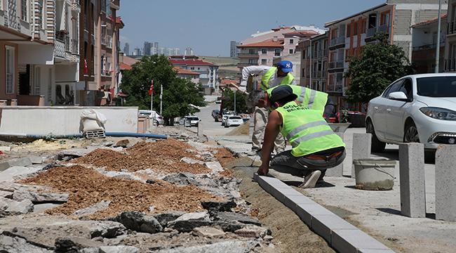 Gölbaşı Belediyesi kaldırım çalışmalarını tamamlıyor…