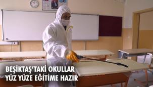 Beşiktaş Belediyesi ilçedeki okulları dezenfekte etmeye devam ediyor